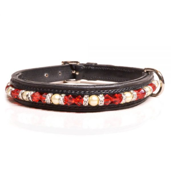 Black Red/White Dog Collar