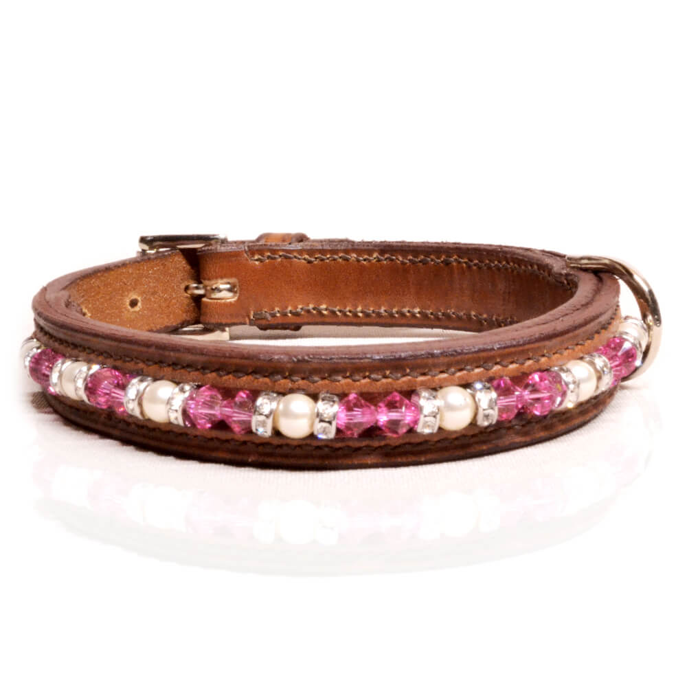 Brown Pink/White Dog Collar