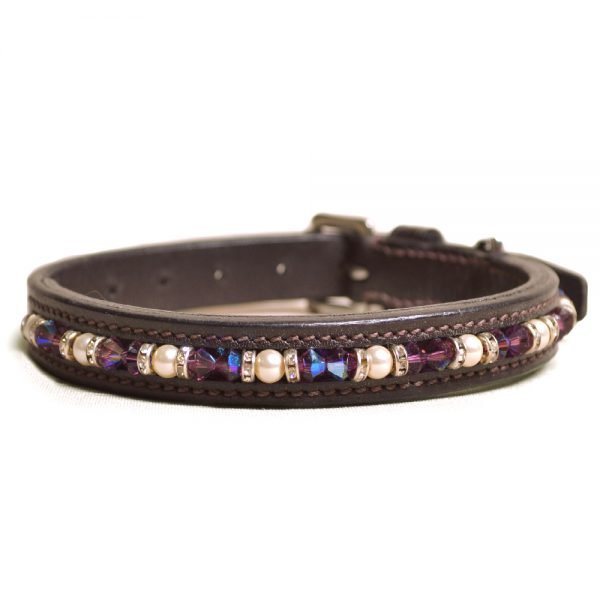 Joshua Jones Dog Collar Brown Purple