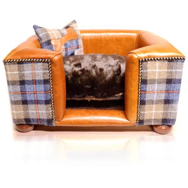 Luxury Tweed/Leather Dog Bed