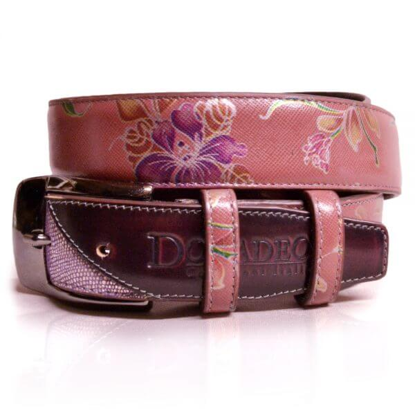 De Niro Belt Lilium pink with silver