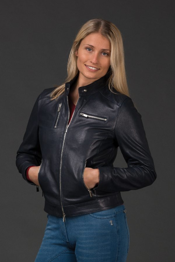 Adona Navy Leather Jacket