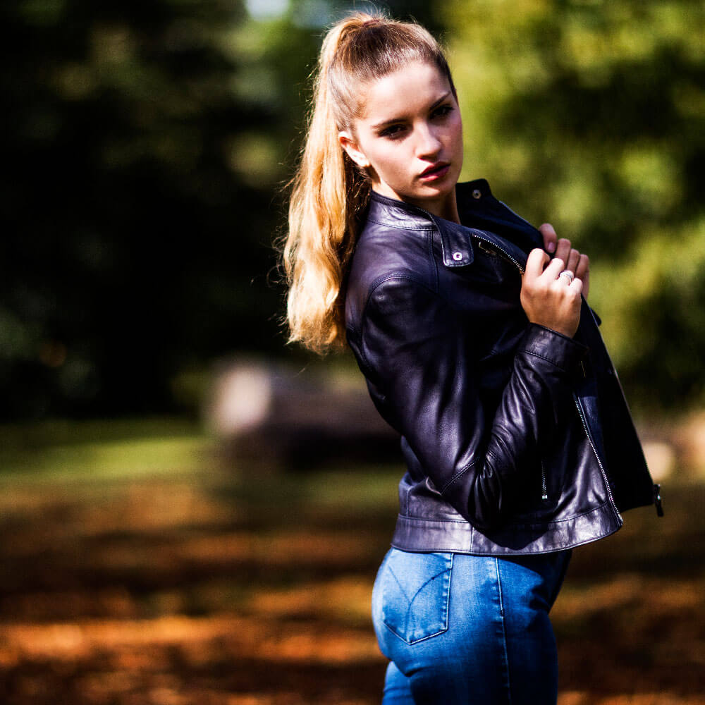 Adona Navy Leather Jacket