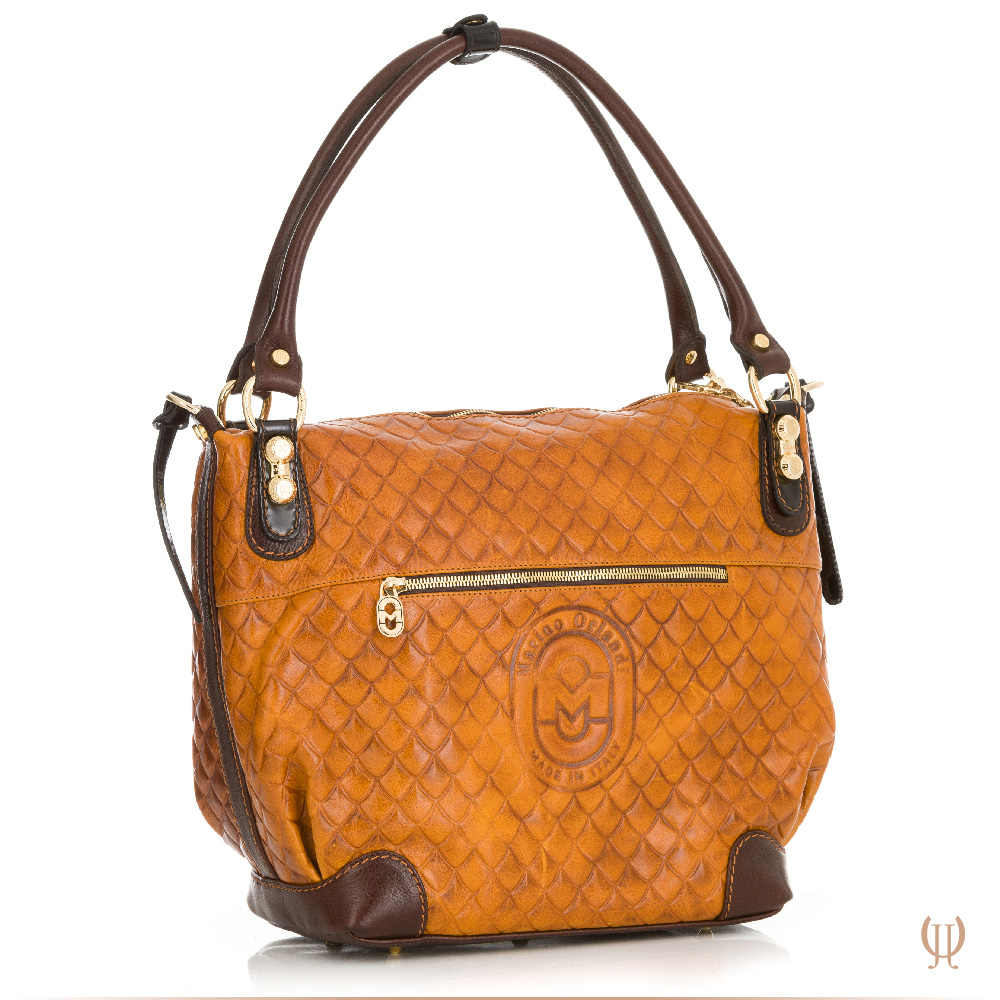 Marino Orlandi Lattice Handbag in Light Tan